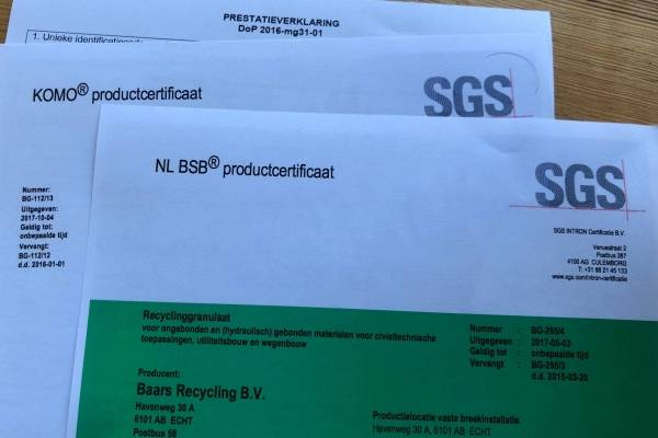 Certificaten | Documenten | Baars Recycling