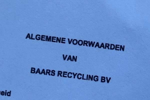Algemene voorwaarden| Documenten | Baars Recycling